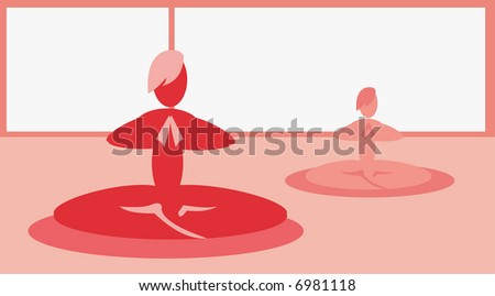 vector background for yoga cards and posters - stock vector