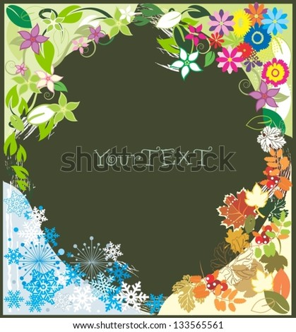 Vector  background - Four seasons - spring, summer, autumn, winter