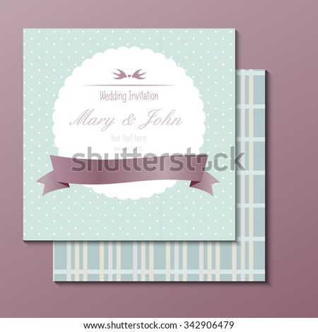 Vector background. frame with sample text, wedding invitation - stock vector
