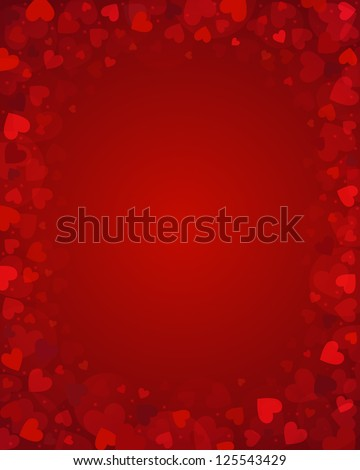Vector background from red hearts - stock vector