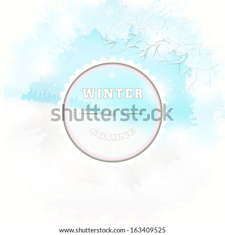 Frosted Glass And Winter Landscape Beautiful Inscription