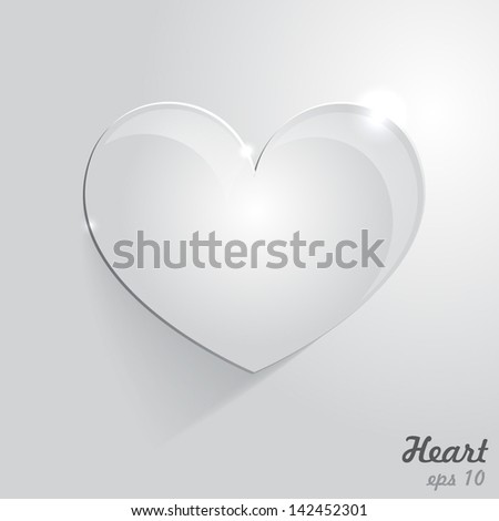 Vector background. Glass heart with room for text - stock vector