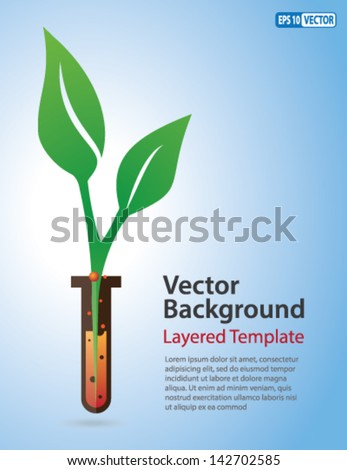 Vector Background - Green Leaf coming out of a Test Tube. Creative Concept for showing Herbs, Bio-Plants, genetically modified food, Innovation, Invention, and many other ideas. - stock vector