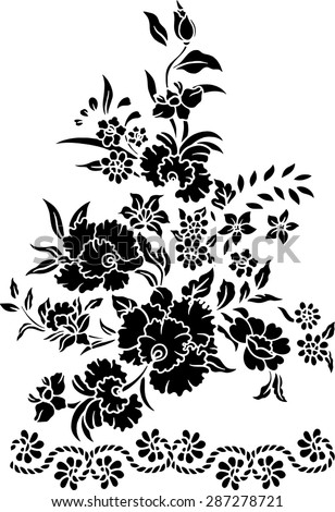 Vector background,hand drawn, pattern with beautiful black flower.