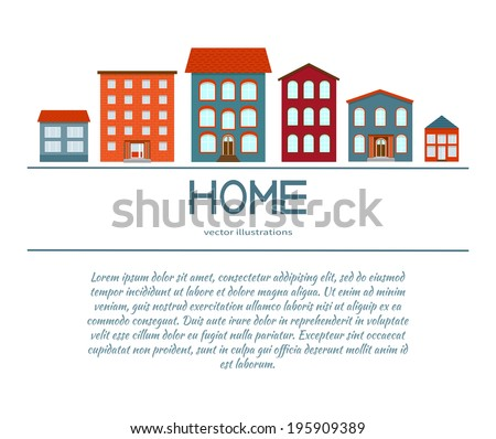 Vector background house icon for your design. Concept theme symbol. Building vector silhouette. - stock vector