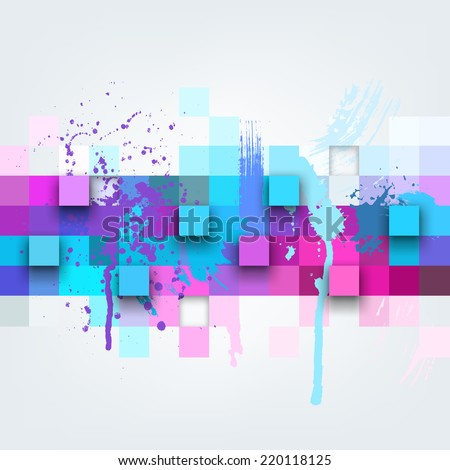 Vector background. Illustration of abstract texture with squares and paint splashes. Pattern design for banner, poster, flyer, cover, brochure. Hand drawn watercolor paint splash. - stock vector