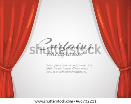 vector background illustration with red curtain. Picture with place for your text. Isolate on white background. Decoration frame