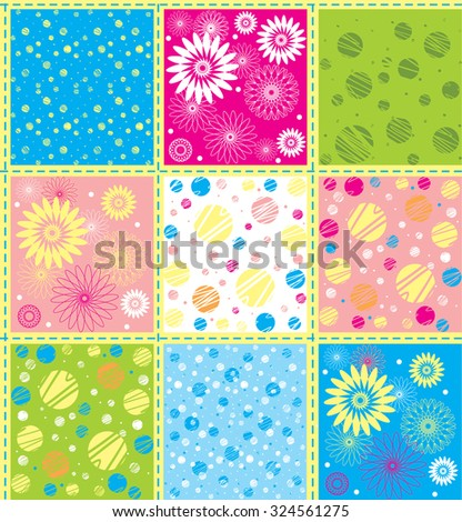 Vector background in gentle, cheerful, fresh colors. Patchwork stile. The rectangles with polka dots, with circles, daisies, lines and so on. It can be used as a set of nine separate patterns. - stock vector