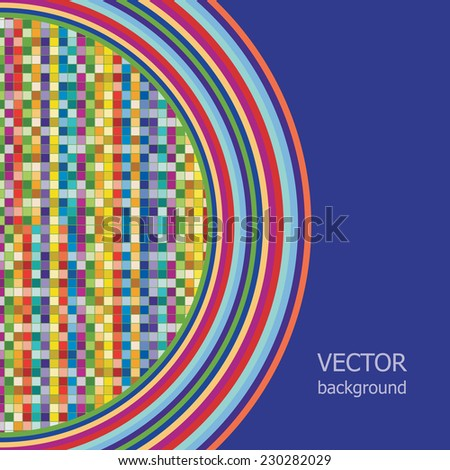 Vector background is of multicolored squares goes to the dark background.