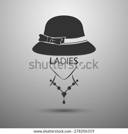 vector background Ladies Hat vintage logo and Ladies text - stock vector
