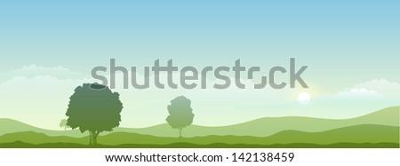 Vector background morning landscape - stock vector