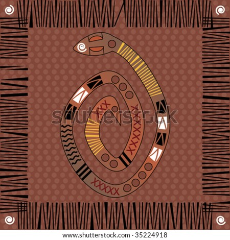 Vector background native african style design with snake. - stock vector