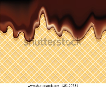 Vector background of a delicious dessert. Dark chocolate flowing on a crispy wafer - stock vector