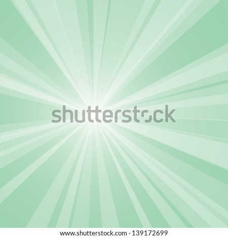 Vector background of a light green burst. - stock vector