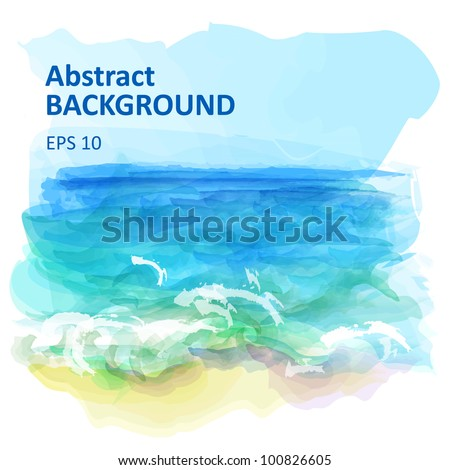 Vector background of a watercolor seascape - stock vector