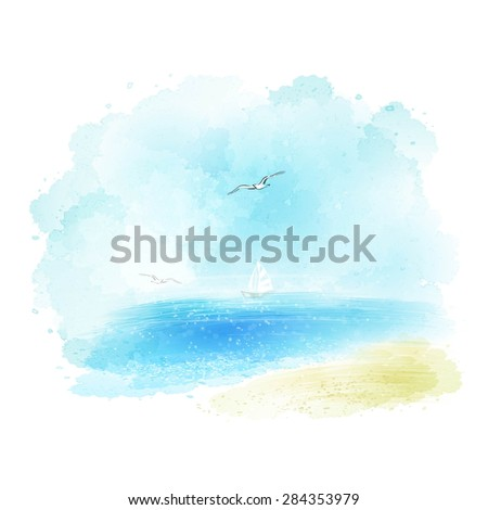Vector background of a watercolor seascape EPS 10 - stock vector