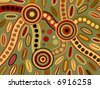 Vector background of aboriginal style symbolic landscape in brown and green. - stock photo