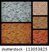 Vector background of bricks of different colors - stock vector