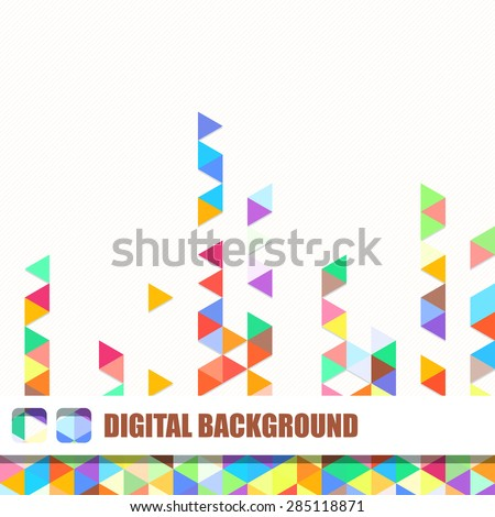 Vector background of different color chaotic triangles - stock vector