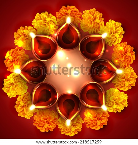 Vector background of diwali diya with flowers - stock vector