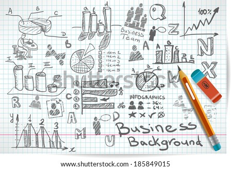 Vector background of doodles and sketches on the theme of business - stock vector