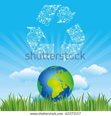 vector background of environment - stock vector