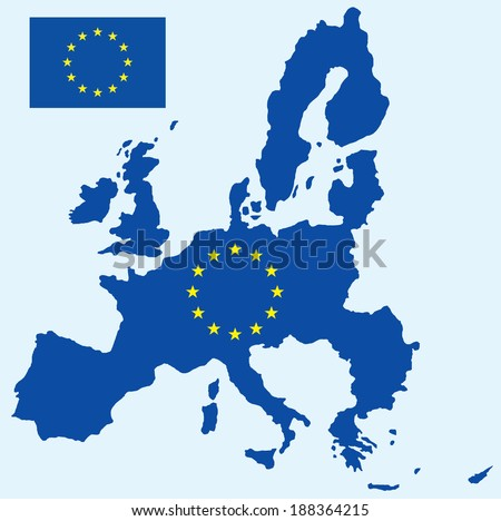 vector background of european map - stock vector