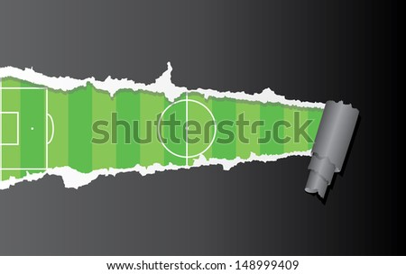 Vector background of football pitch under ripped paper. - stock vector