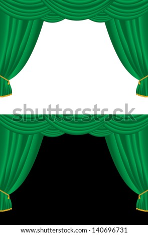 Vector background of green curtains on black and white. - stock vector