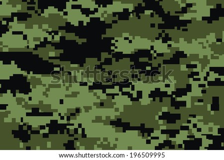 vector background of green digital camoflage pattern - stock vector