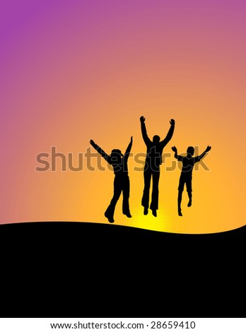 Vector background of 3 happy people jumping for joy with space for text