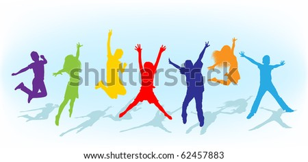 vector background of kids jumping - stock vector