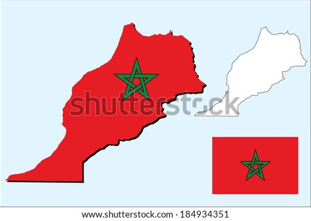 vector background of morocco map and flag