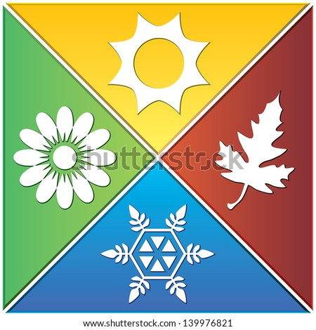 Vector background of season signs in triangles. - stock vector