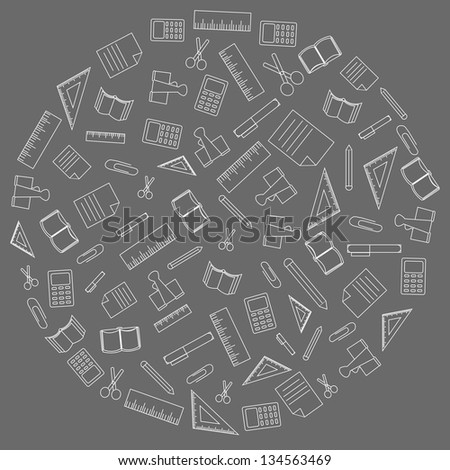 Vector background of the many icons on the education - stock vector