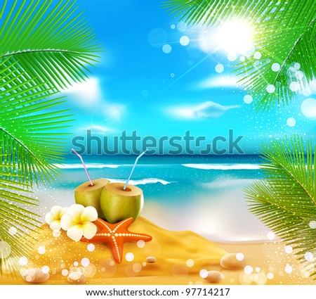 vector background of the sea, palm trees, coconut cocktail, sea star