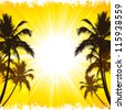 Vector background of tropical beach holiday. - stock vector