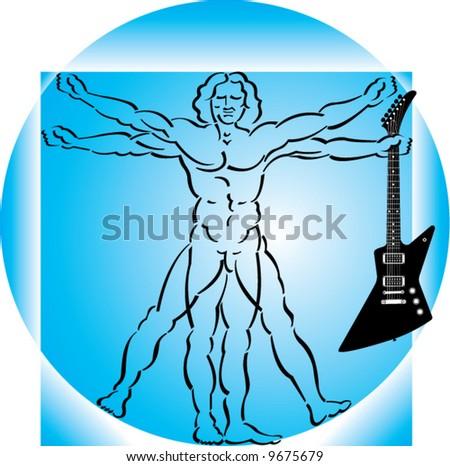 Vector background of vitruvian man ready to rock - stock vector
