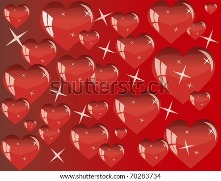 Vector background on red with hearts - stock vector