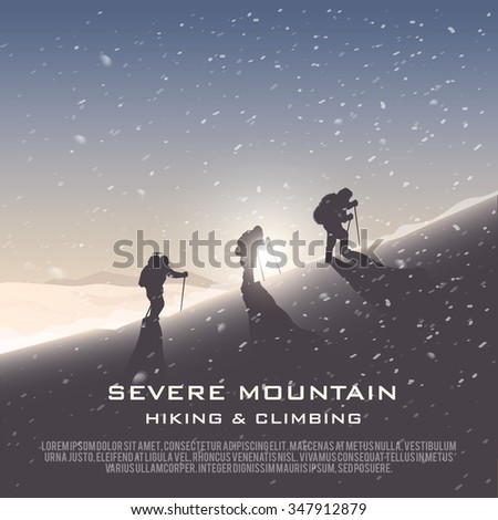 Vector background on the theme of Climbing, Trekking, Hiking, Mountaineering. Extreme sports, outdoor recreation, adventure in the mountains, vacation. Achievement. The Alps.   - stock vector