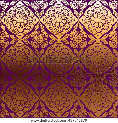 vector background ornamental circle of flowers. abstract drawing. Gold ornament. Baroque , Rococo. Purple - stock vector
