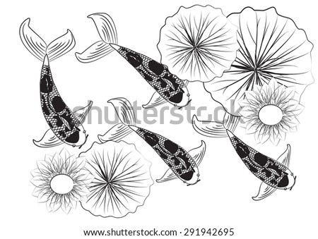 Vector background pattern with koi fish and lilies - stock vector