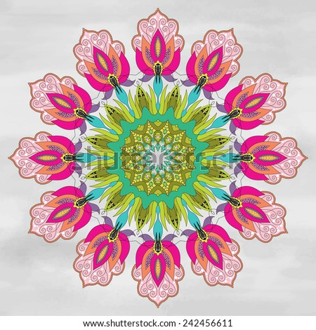 Vector background. Round ornament with floral fantastic oriental pattern. Watercolor hand drawing. - stock vector