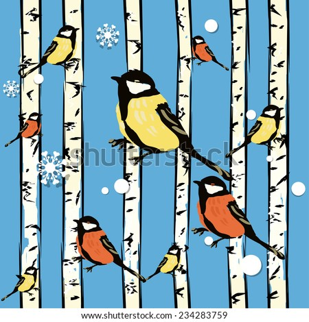 Vector background (seamless pattern) with bird on the trees. Winter wrapping paper background for Christmas gifts.can be used for wallpaper, pattern fills, web page background, surface textures. - stock vector