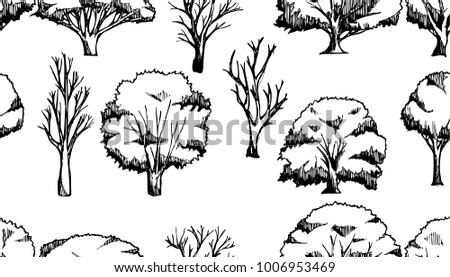 Vector Background Seamless pattern with hand drawn Tree doodle