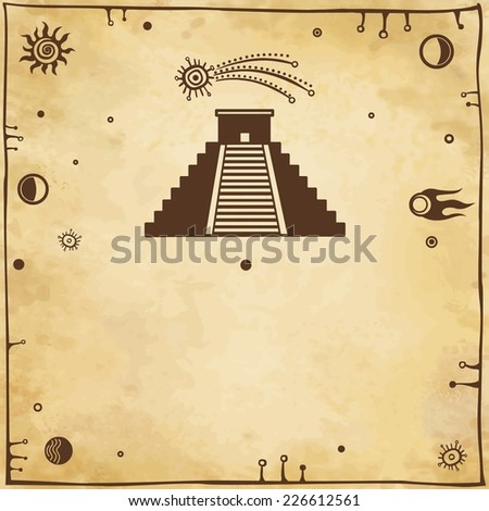 Vector background:  silhouette a pyramid Maya with a comet, with a place for the text. Imitation of old paper. - stock vector