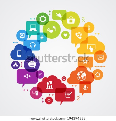 Vector background. Social media concept. ?ommunication in the global computer networks. Set of flat design concept icons for web and mobile services. File is saved in AI10 EPS version.  - stock vector