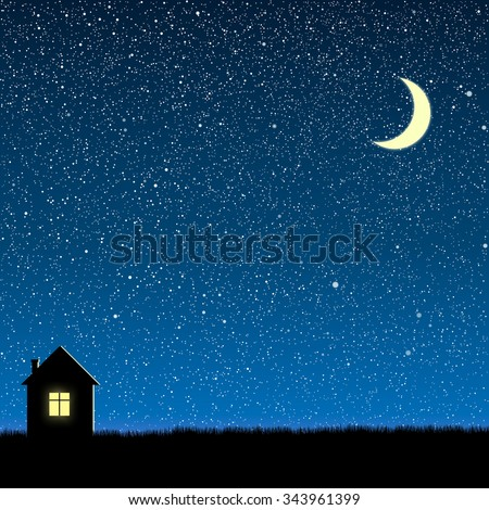 Vector background. Starry night sky. Stars, sky, night. Silhouette of the house. - stock vector