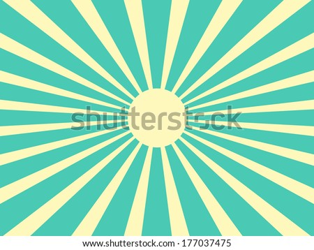 Vector background sun rays with blue and yellow retro color - stock vector