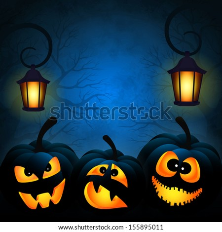 Vector background to Halloween with funny pumpkins - stock vector